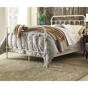 antique white iron metal bed frame queen headboard victorian french furniture ebay. Black Bedroom Furniture Sets. Home Design Ideas