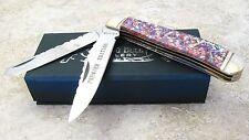 Bear & Bull Cutlery Red Abalone handles Premier Edition Folding Blade Knife