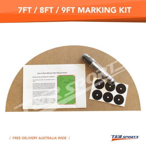 Marking Kit for 7FT 8FT 9FT Pool Snooker Billiard Table Instruction & Pen