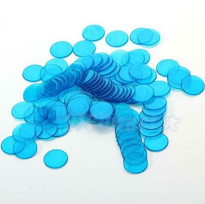 100 Plastic Count Bingo Chips / Markers for Bingo Cards Game Clear Blue 3/4 inch