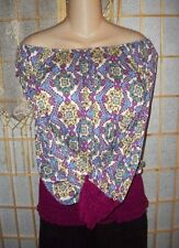 Off-Shoulder Peasant Top Blouse~M~Med~Gypsy Shirt~Hippie~Wench~Purple~Cotton