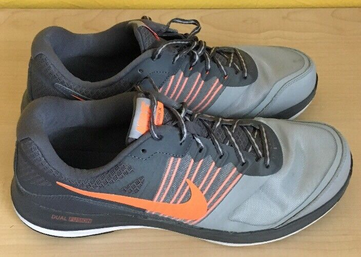 MEN'S NIKE DUAL FUSION X SHOES SIZE 10.5 grey orange 709558 002