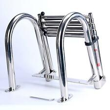 4 Steps Stainless Folding Rear Entry Pontoon Boat Ladder with Extra Wide Step US