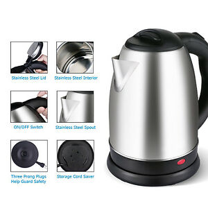 Image Is Loading Stainless Steel Electric Tea Coffee Kettle Cordless Hot