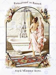 ADVERTISING BATHROOM BATHTUB BATH EVOLUTION USA ART PRINT POSTER BB7351