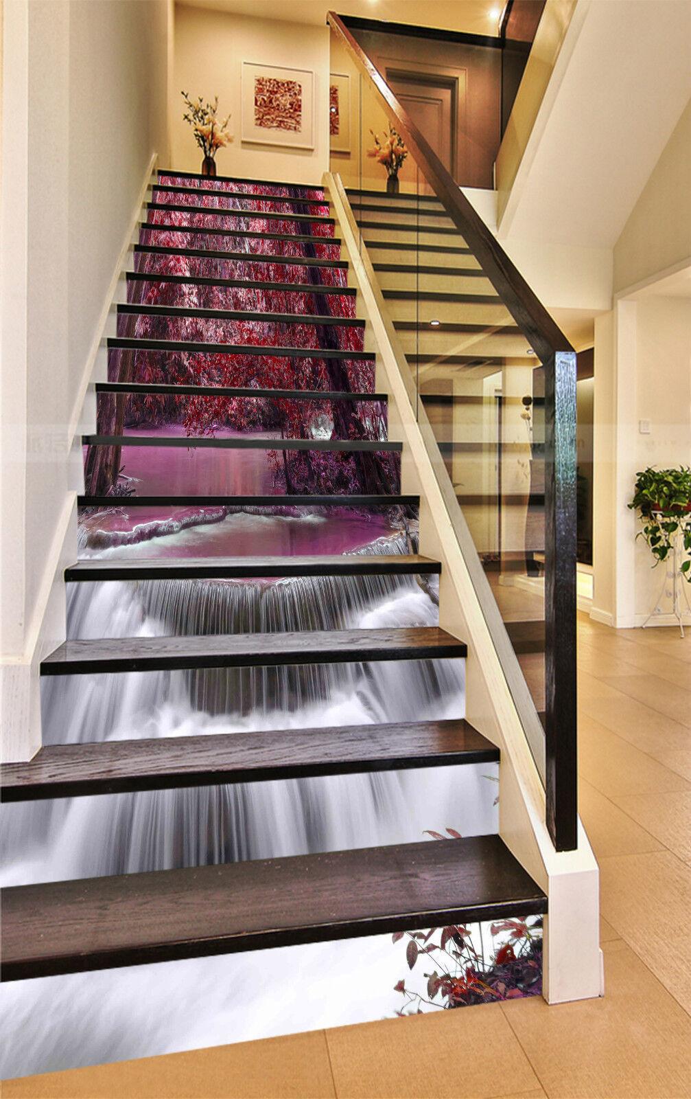 3D Rote Wald 531 Stair Risers Dekoration Fototapete Vinyl Aufkleber Tapete DE