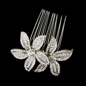 Antique Silver Rhinestone Flower Side Hair Bridal Comb Wedding Jewelry
