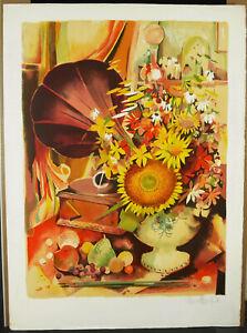 Robert-Vernet-Bonfort-Print-Original-Signed-c1980-Gramophone-Flowers-And-Fruit