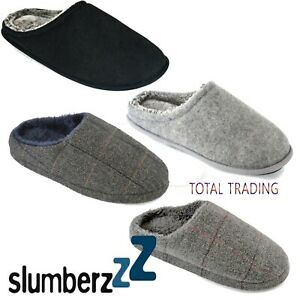 MENS-SLIPPERS-faux-fur-LINED-MULE-SLIPS-ON-checks-or-plain