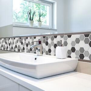 3D Mosaik Fliesenaufkleber Wandaufkleber Küche Bad Fliesenfolie Klebefolie DE