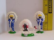 VINTAGE MINIATURE INDIAN TOY TOYS LOT OF 3 PAINT IS FLAKING OFF RUBBERY MATERIAL