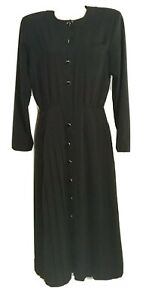 REAL-VINTAGE-80s-LBD-By-MS-CHAUS-Nerd-Office-Long-Dress-Modest-Sz-6-Career-EUC