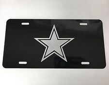Dallas Cowboys Star Car Tag Diamond Etched on Black Aluminum License Plate