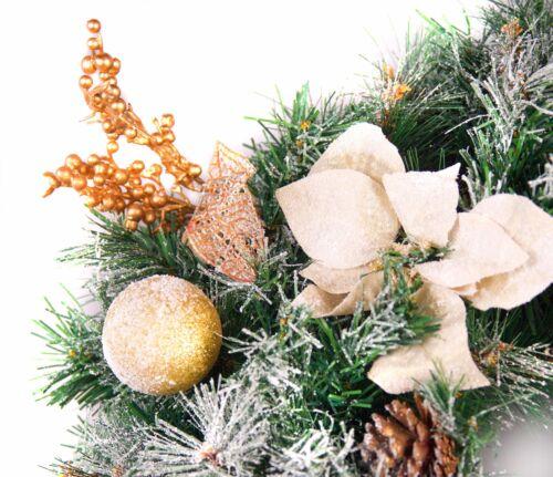 Meilleur de Noël artificiels 60 cm givré rouge ou or Décoré Guirlande de Lumières DEL
