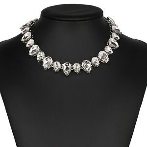 Strass-weiss-Tropfen-Glamour-Design-Kette-Halskette-Collier-Silber-plattiert-neu