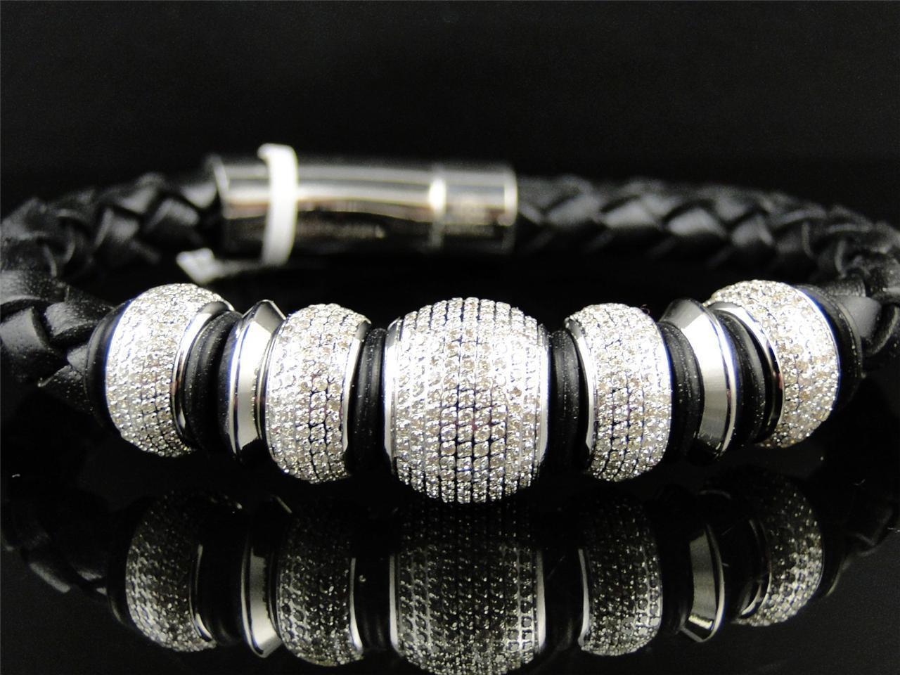 Da Da Da Uomo Si Diamante Sfere Cinturino pelle Braccialetto By Artica 5.5 Kt 14mm 1d8234