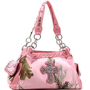 Image Is Loading Realtree Pink Camo Cross Purse Camouflage Handbag Rhinestones