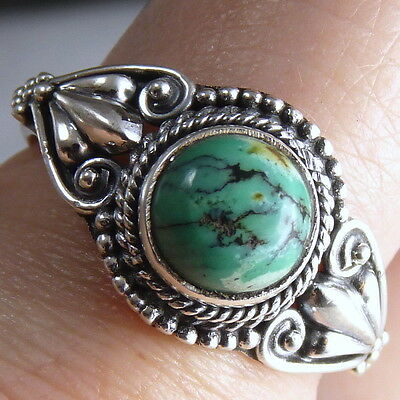 Filigree Feature Gem Ring Size US 9.75 SILVERSARI Solid 925 Silver/TURQUOISE