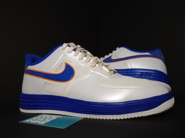 Nike LUNAR AIR FORCE 1 FUSE NRG MEDICOM Blanc Bleu Orange or 573980-104 10.5