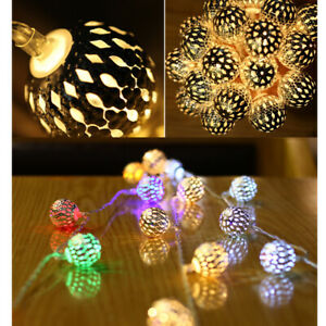 String-of-40-Silver-Moroccan-Fairy-Lights-Metal-Balls-Teardrops-LED-on-Wire-5M