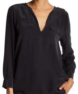 Joie XS Top Black Marlo Blouse 100% Silk V-neck Flap Pockets Relaxed Shirt XS