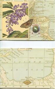 BOTANICAL-PURPLE-WISTERIA-FLOWERS-EGRET-BIRD-MAP-CARIBBEAN-OCEAN-SEA-ART-CARD