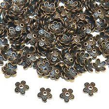MX398p Antiqued Copper 10mm Round 5-Petal Filigree Flower Bead Caps 250/pkg