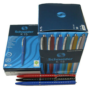 Schneider-K15-Kugelschreiber-Druckkugelschreiber-Kuli-Farbe-waehlbar-5-10-20-50