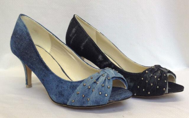 "Ladies Womens 2.7"" Mid High Heel Toe Peep Bow Court Shoes Denim Blue Jeans Size"