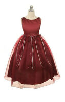 Burgundy Flower Girls Dress Pageant Wedding Birthday Party Bridesmaid Baby