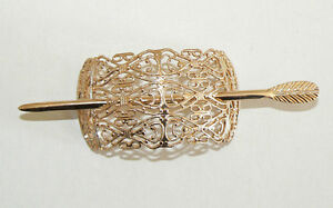 SALE-Filigree-Vintage-Hair-Clip-Pin-West-Germany-Light-Weight-Never-Worn-Gold-D