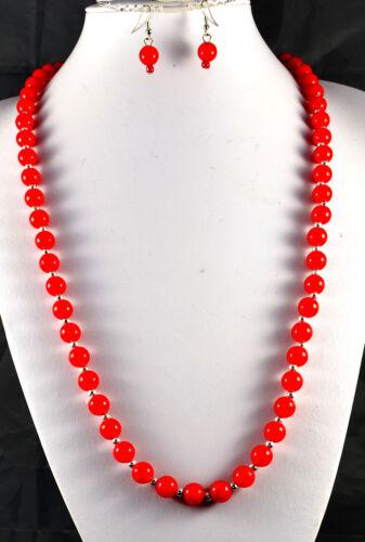 """30/"""" caliente rosa rojo o lila 10 mm perlas de imitación y Plata Perla Collar /& Pendientes Set"""