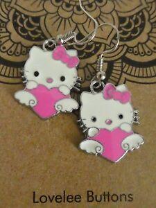 Hello-Kitty-Earrings-Enamel-Pink-Very-Cute-Girls-Ladies