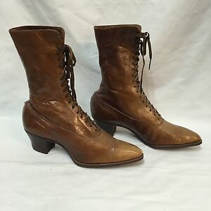 Victorian-Boots-Ladies-High-Top-Lace-Up-Brown-Leather-Antique-Peters-St-Louis