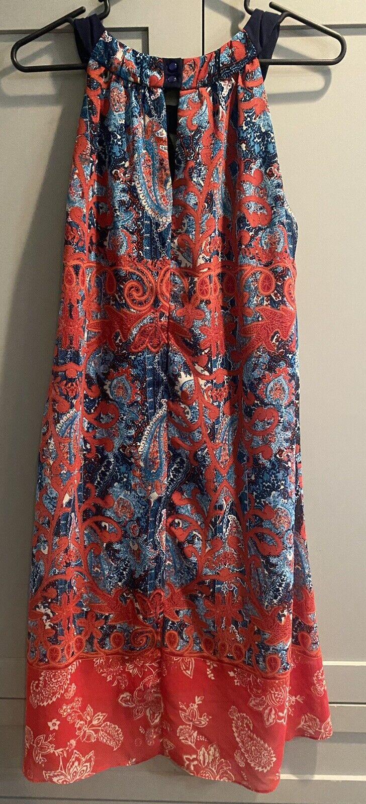 Cb Established 1962 Dress Sz 10 Red & Blue Sheer … - image 9