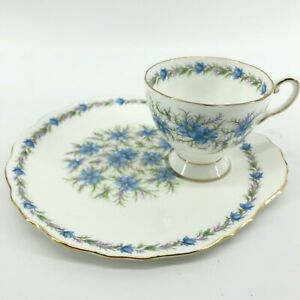 Royal-Tuscan-Fine-Bone-China-Teacup-amp-Snack-Plate-Cup-Holder-Love-in-The-Mist