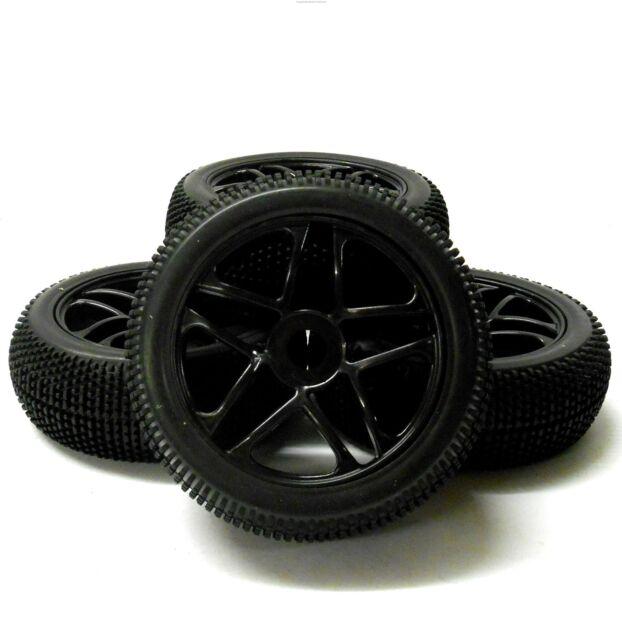 180081 1/8 Escala Off-Road Buggy Rc 10 Radios Ruedas y Neumáticos Negro X 4