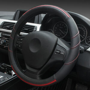 Leather-Steering-Wheel-Cover-Breathable-Anti-Slip-Odorless-Red-15-034-Universal