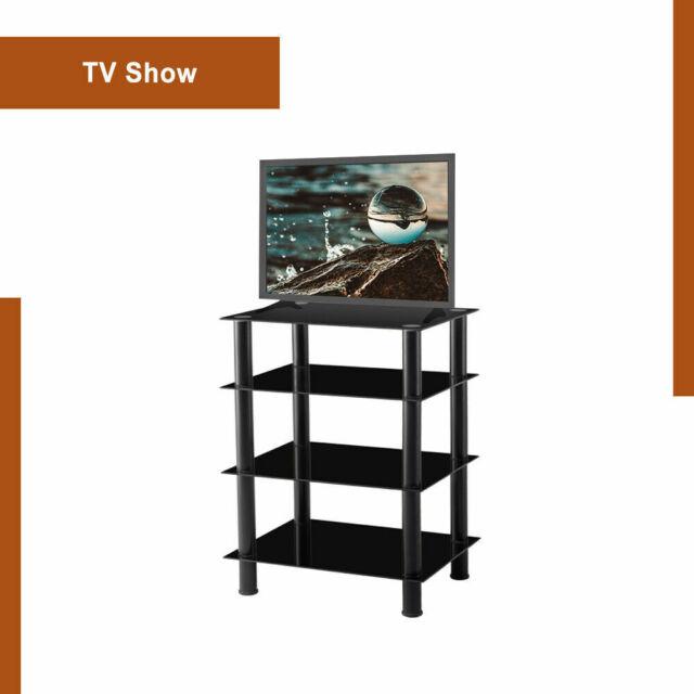 Entertainment Center Media Console AV Shelf Home Office Furniture Vintage Glass