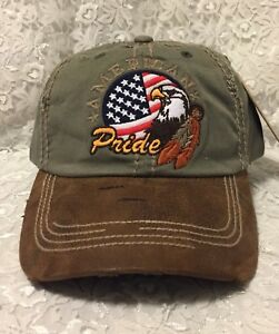 Image is loading American-Pride-Embroidered-Women-Men-Olive-Brown-Bill- d46cbb9f33