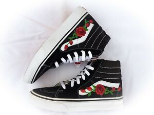 e171e6d17152 New Custom Vans Sk8 Hi Skateboarding Red Rose Rose Embroidery Patch ...
