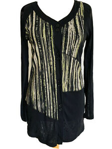 Marco-Polo-Black-Neon-Striped-Mesh-Cardigan-Button-Up-Blouse-Asymetric-Size-M
