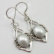 925 Pure Silver AAA FRESH WATER PEARL Indian Jewelry Wholesale Earrings 3.6 CM