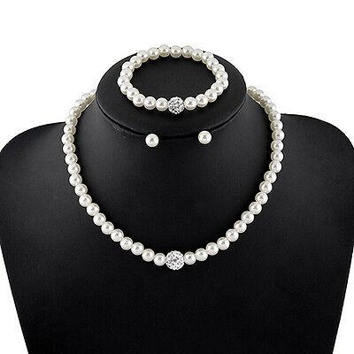 Women's Bride Wedding Jewelry Set Crystal Faux Pearl Necklace Bracelet Earrings