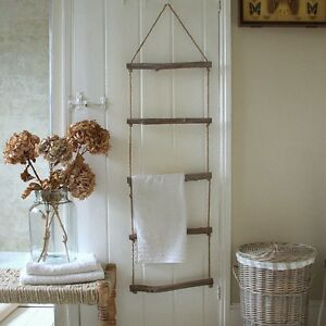 Image Is Loading Shabby Chic Wall Hanging Towel Rail Holder Rope