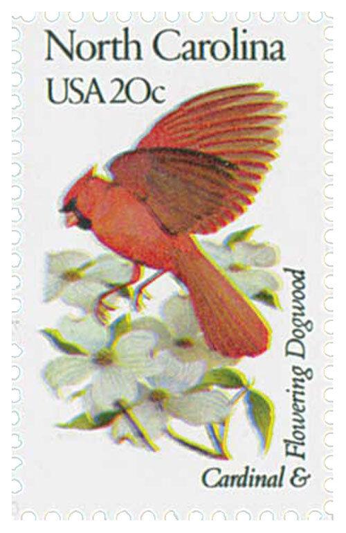1982 20c State Birds & Flowers N. Carolina, Cardinal, D
