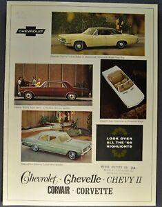 "1966 Chevrolet /""Corvair/"" Car Dealer Showroom Sales Brochure Catalog"
