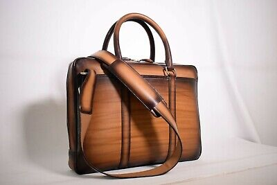 Custom berluti style patina supreme leather slim laptop office bag briefcase