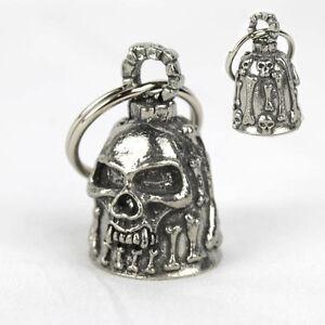 Capable Moto Guardian Bell Cloche Porte Bonheur Skull & Bones Tete De Mort Pendentif Neuf-afficher Le Titre D'origine