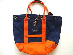 Ralph-Lauren-Polo-Navy-Blue-Orange-Nautical-Canvas-Tote-Bag